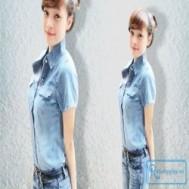 Áo sơ mi jean tay ngắn cá tính bụi và sành điệu dành cho bạn gái với giá chỉ 105.000 vnđ cho giá trị sử dụng 190.000 vnđ