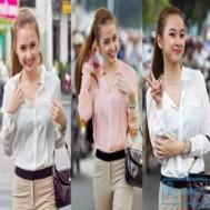Áo sơ mi voan cổ trụ tay dài thời trang thể hiện vẻ thanh lịch, dịu dàng của các bạn gái trẻ với giá chỉ 97.000 vnđ cho giá trị sử dụng 200.000 vnđ