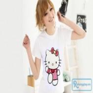 Áo thun Doremon và Hello Kitty thiết kế kiểu cổ tròn, tay ngắn đáng yêu dành cho bạn gái với giá chỉ 55.000 vnđ cho giá trị sử dụng 120.000 vnđ