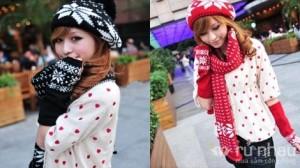 Bộ khăn, mũ, găng tay len cho nữ phong cách Hàn Quốc - Họa tiết chào đón giáng sinh 2013 - Bộ 3 hợp mốt nhất cho mùa đông năm nay. Sản phẩm trị giá 375.000 ưu đãi 35% còn 245.000. Duy nhất có tại