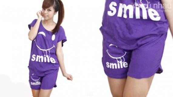 BỘ ĐỒ SMILE: Chất liệu thun cotton, giúp bạn gái thoải mái, năng động và lịch sự khi mặc ở nhà. Sản phẩm trị giá 130.000đ giảm còn 75.000đ. Đừng bỏ lỡ cơ hội tại Rủ nhau - Thời Trang Nữ