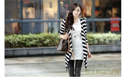 Áo khoác sọc form dài sành điệu