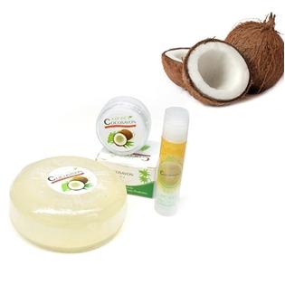 Xà phòng, sáp dưỡng da và son môi tinh chất dừa