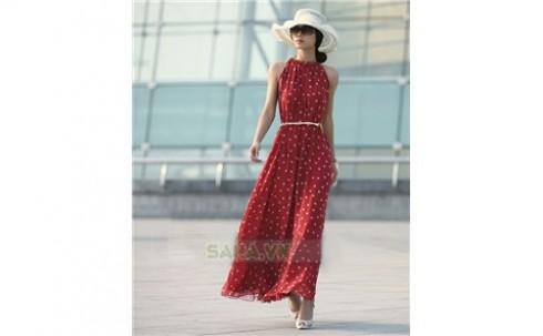 Đầm Maxi yếm chấm bi