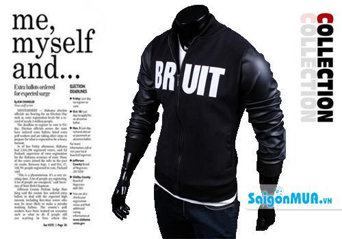 Áo khoác nam tay phối da Bruit sang trọng với thiết kế chữ thêu và phối tay da cực sang trọng và nam ...