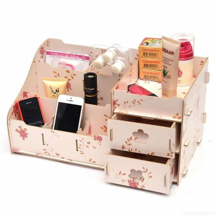 Shop Nhà Xinh - Hop go dung my pham, trang suc 2 ngan da nang loai lon