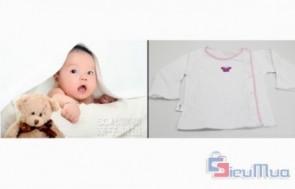 Combo 5 áo sơ sinh cài cúc lệch JOU dành cho bé giá chỉ có 113.000đ, nền áo màu trắng với viền màu hồng rất tươi tắn, đáng yêu. - Sản phẩm cho bé