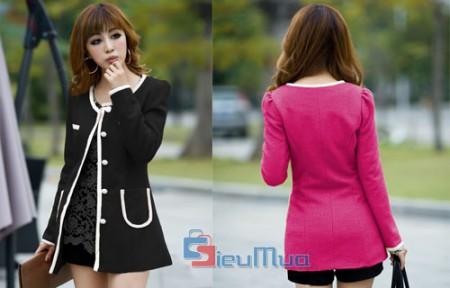 Áo khoác nữ blazer form dài Hàn Quốc chất liệu thun BC co giãn. Thiết kế giả vest, ôm body tạo đường cong quyến rũ cho các cô nàng với màu sắc tươi tắn.