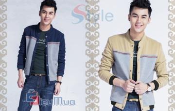 Áo khoác kaki nam kẻ sọc ngang phong cách Hàn Quốc