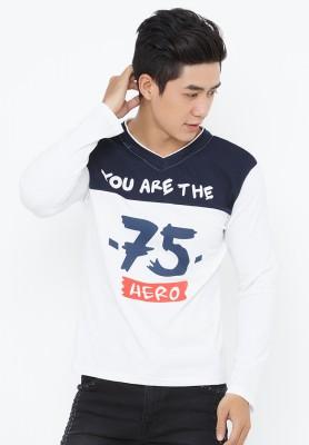 Titi Shop - Ao thun nam tay dai AT92 ( trang phoi xanh)