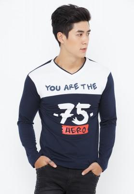 Titi Shop - Ao thun nam tay dai AT91 ( trang phoi xanh)