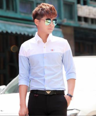Titi Shop - Ao so mi tron Body SM375 KHONG NHAN ( xanh phoi trang )