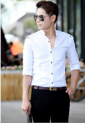 Titi Shop - Ao so mi tron Body SM378 KHONG NHAN (Trang )