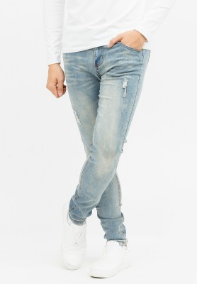 Titi Shop - Quan jean Titishop may chi noi QJ136046 wash mau xanh jean