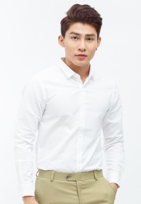 Titi Shop - Ao so mi Titishop SM372 mau trang tay dai KHONG NHAN