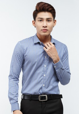 Titi Shop - Ao so mi Titishop SM461 tay dai mau xanh duong phoi soc trang