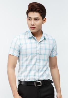 Titi Shop - Ao so mi Titishop SM460 tay ngan mau trang phoi ke caro xanh ngoc nhat