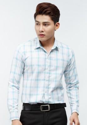 Titi Shop - Ao so mi Titishop SM456 tay dai mau trang phoi ke caro mau xanh ngoc nhat