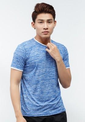 Titi Shop - Ao thun Titishop AT257 mau xanh da troi tay ngan va co vien trang