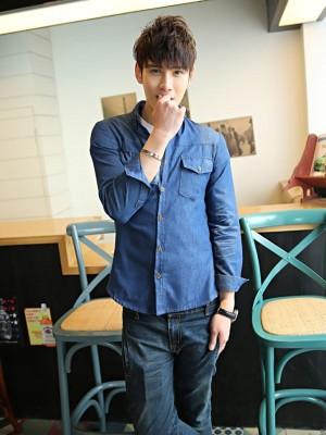 Titi Shop - Ao so mi nam Denim Tay dai Cao cap ADN33 (xanh )