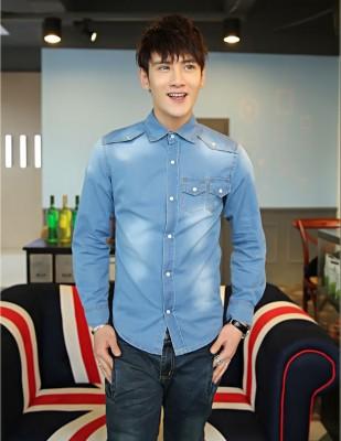 Titi Shop - Ao so mi nam Denim Tay dai Cao cap ADN31 (xanh jean )