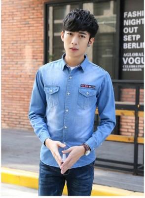 Titi Shop - Ao so mi nam Denim Tay dai Cao cap ADN32 (xanh jean )