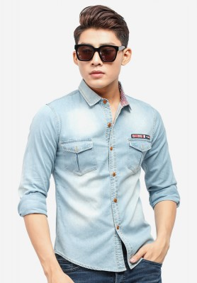 Titi Shop - Ao so mi denim Titishop ADN38 xanh da troi wash bac