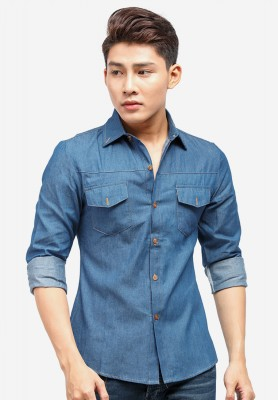 Titi Shop - Ao so mi denim Titishop ADN33 xanh jean tay dai
