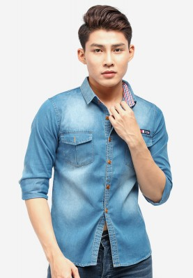 Titi Shop - Ao so mi denim Titishop ADN32 xanh duong wash bac