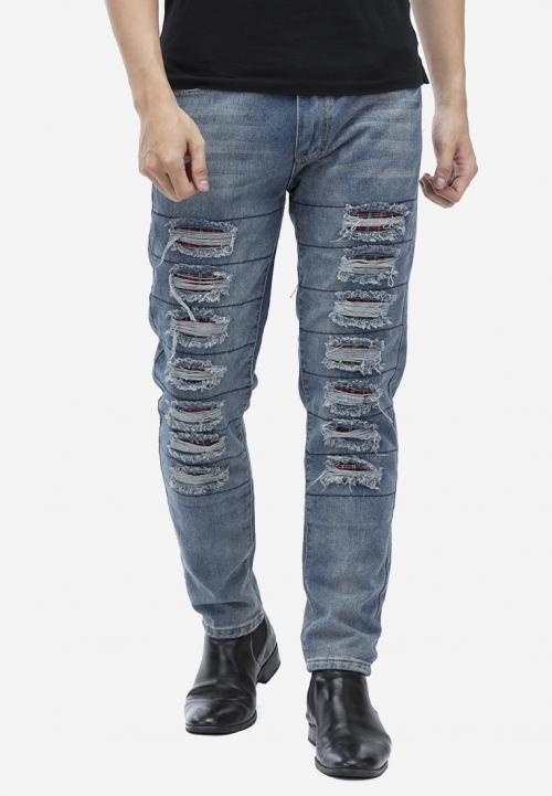 Quần jeans Titishop QJ159 màu xanh da trời rách ống