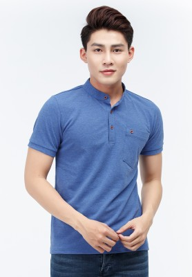 Titi Shop - Ao thun nam Slimfit Titishop AT293 co tru mau xanh ( thun ca sau )