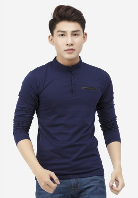 Titi Shop - Ao thun nam Titishop AT18 co tru mau xanh navy