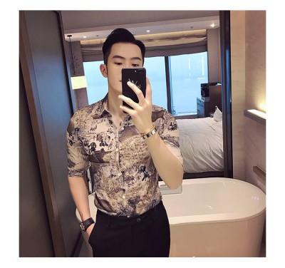 Titi Shop - Ao so mi Hoa tiet Titishop SM564 tay lung xu the