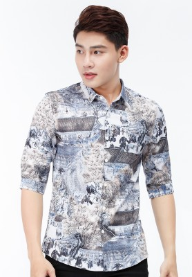 Titi Shop - Ao so mi Titishop SM555 tay lung hoa tiet mau nau - xanh navy