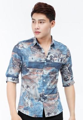 Titi Shop - Ao so mi Titishop SM554 tay lung hoa tiet mau xanh duong
