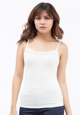 Titi Shop - Ao thun Mac vest 2 day Titishop AOL3 mau trang vien ren