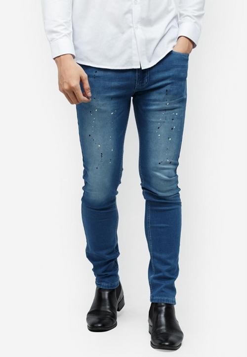 Quần jeans Titishop QJ147 màu xanh dương wash bạc