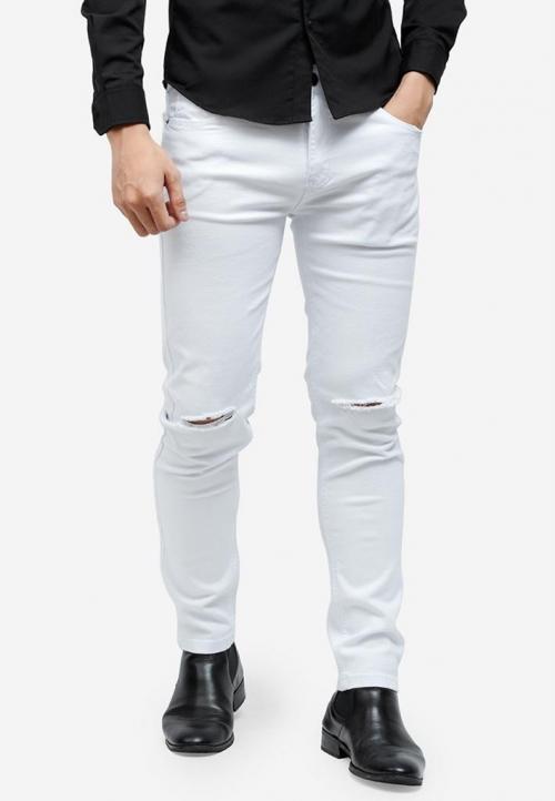 Quần jeans Titishop QJ157 màu trắng rách gối
