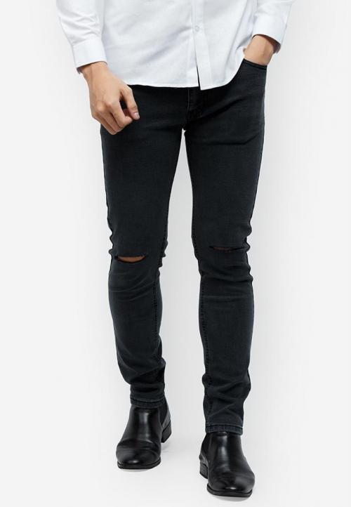Quần jeans Titishop QJ156 màu xám đen rách ống