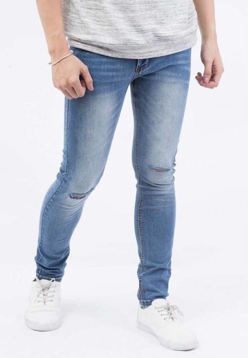 Quần jeans Nam rách gối màu đen QJ102 ( Xanh)