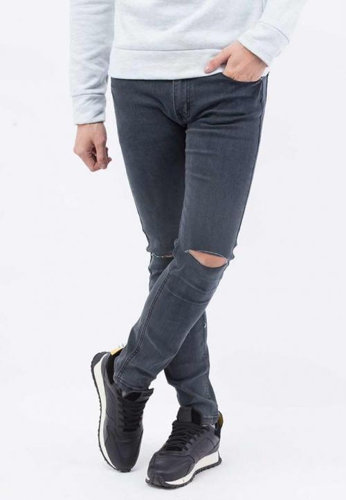 Quần jeans Nam rách gối màu đen QJ105 (Xám chuột )