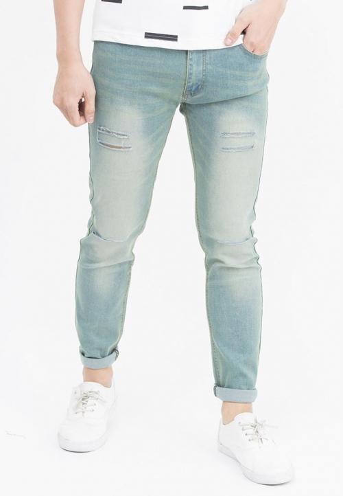 Quần jeans Nam rách gối màu đen QJ106 ( Xanh bạc)