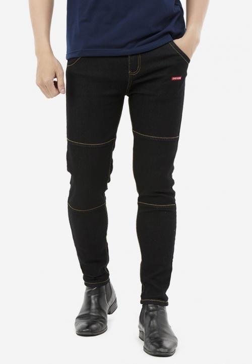 Quần Jeans Titishop QJ164 ỐNG CÔN màu đen phối chỉ nổi vàng