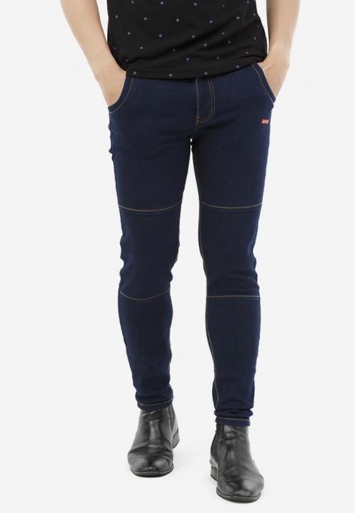 Quần Jeans Titishop QJ165 ỐNG CÔN màu xanh dương đậm phối chỉ nổi vàng