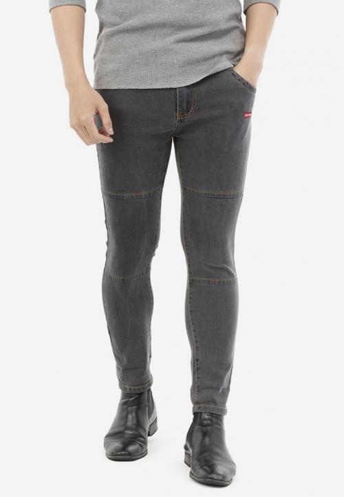 Quần Jeans Titishop QJ166 ỐNG CÔN màu xám phối chỉ nổi vàng