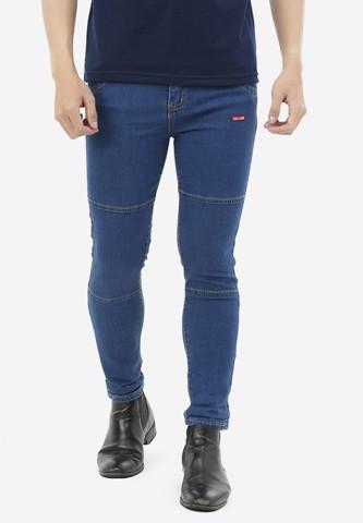 Titi Shop - Quan Jeans Titishop QJ167 ONG CON mau xanh duong phoi chi noi vang