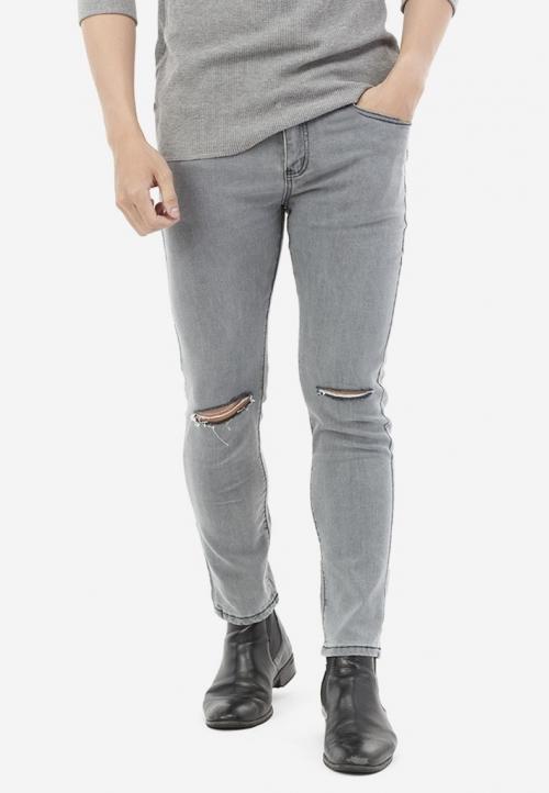 Quần Jeans Titishop QJ168 màu xám rách gối