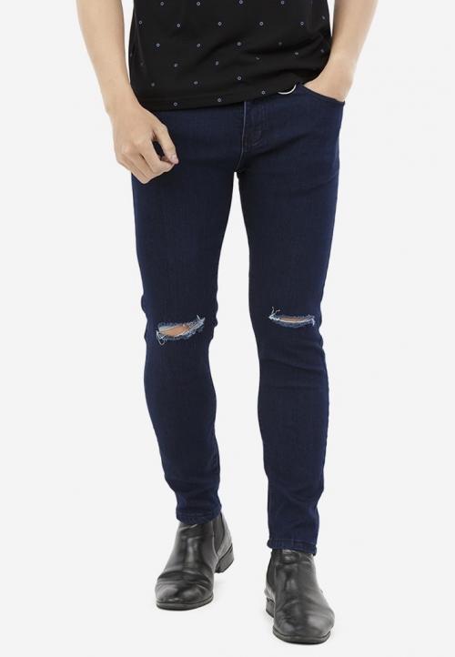 Quần Jeans Titishop QJ169 màu xanh dương đậm rách gối