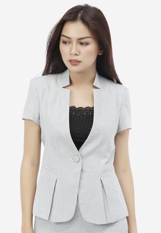 Titi Shop - Ao vest nu ANN50 tay ngan mau xam trang