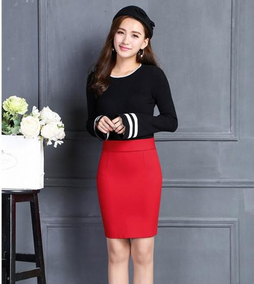 Chân váy thun co giãn CV22609 ( đỏ )